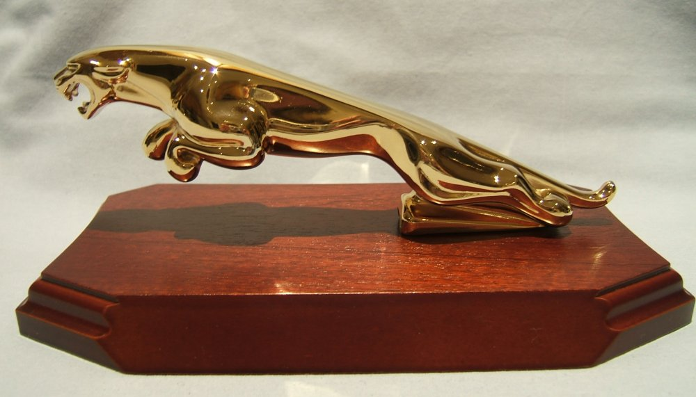 Large Gold Plated Jaguar Leaper on a Wood Plinth