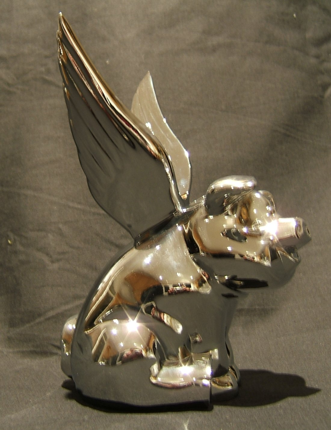 Flying Pig Truck Mascot -Chrome Plated