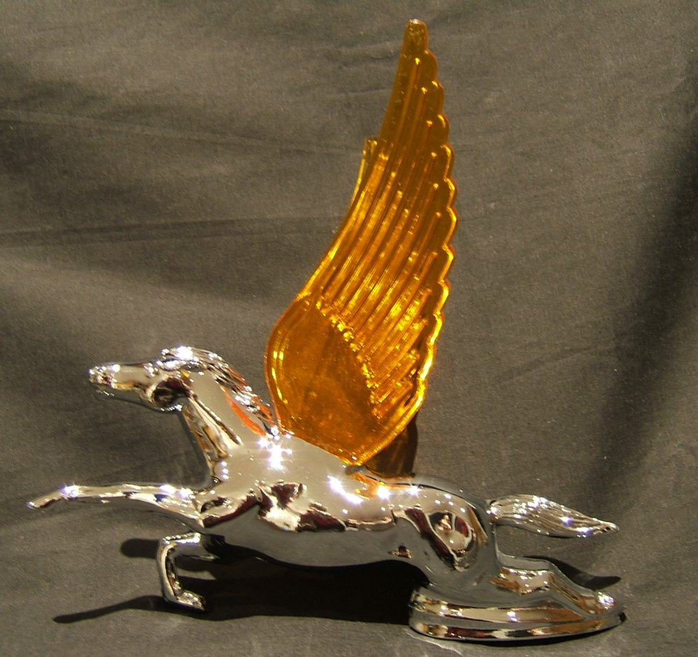 Flying Horse with Amber Illuminated Wings-Chrome Plated