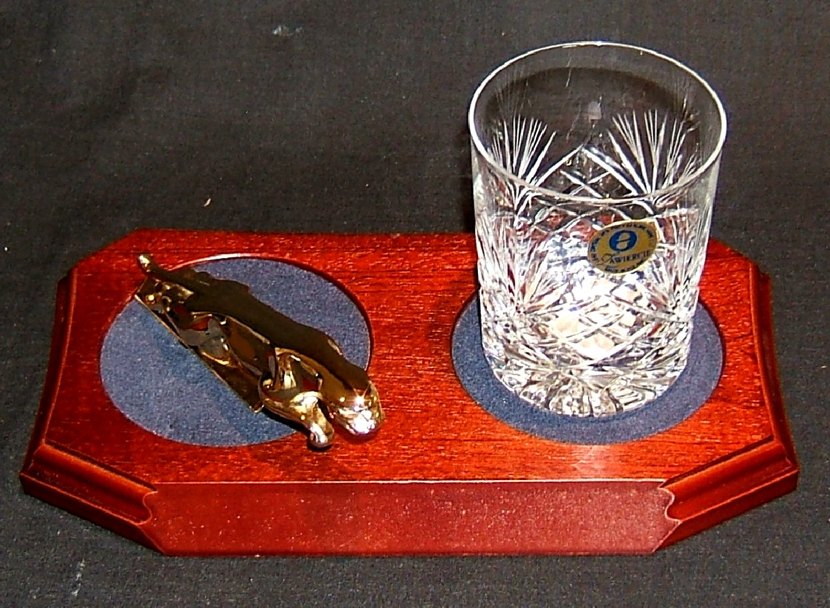 Small Gold Plated Jaguar Mounted on a wood Plinth with One Lead Crystal Whisky Tumbler and Felt Coaster