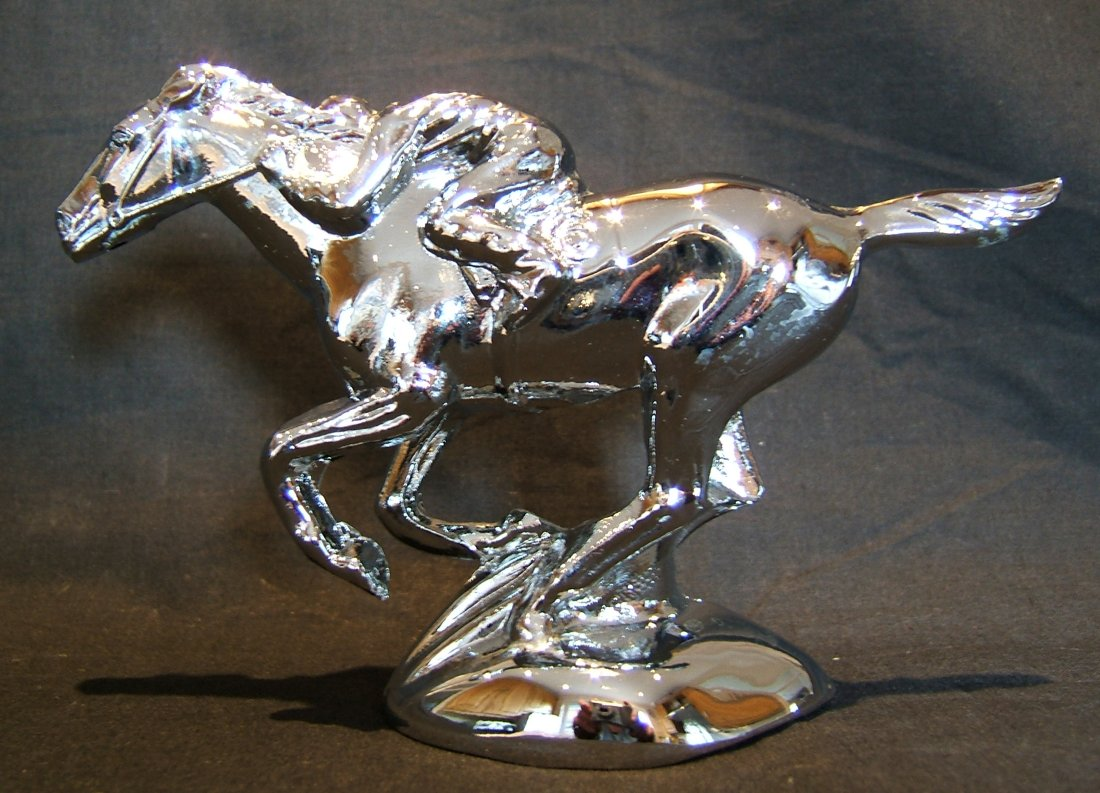 Racehorse & Jockey Bonnet Mascot -Chrome Plated